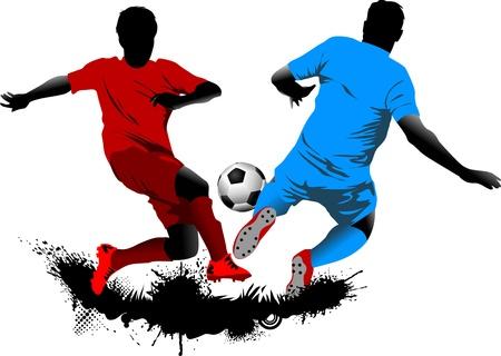 サッカーのデザイン要素。緑の背景 (ベクトル イラスト);