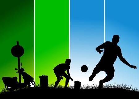 soccer design element; green background (vector-illustration);  Illustration