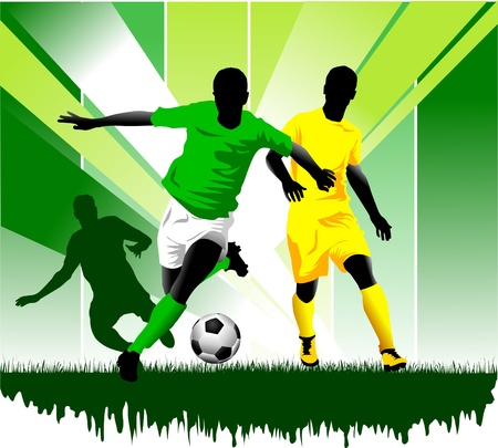 cups silhouette: soccer design element, green background Illustration