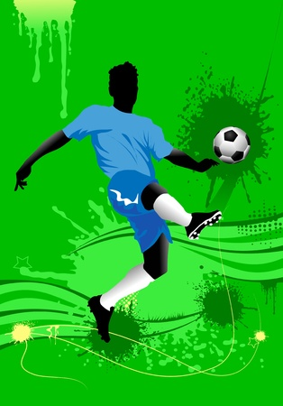 goal kick: soccer design element, green background  Illustration