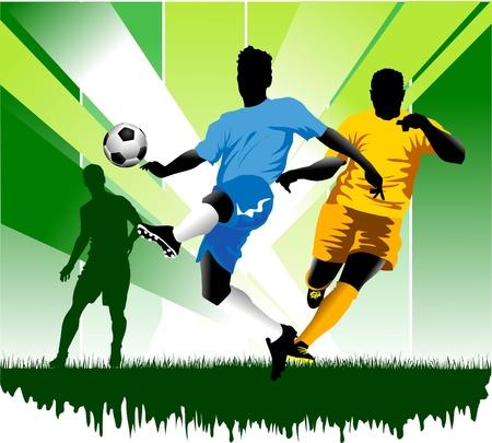 arquero futbol: F�tbol elemento de dise�o, fondo verde