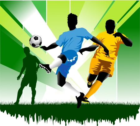 goalkeeper: soccer design element, green background  Illustration
