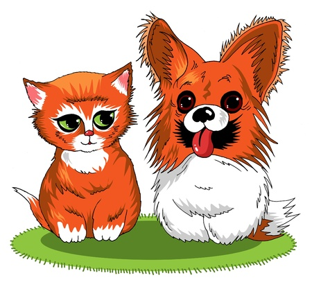 kitten and puppy sitting together on a green rug; adorable;  Vector