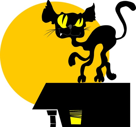black cat walking on the roof against a yellow moon; Stock Vector - 12108009