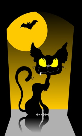 kitty cat: black cat walking on the roof against a yellow moon;