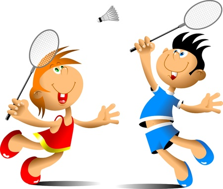 actions: little girl and boy playing badminton  Illustration