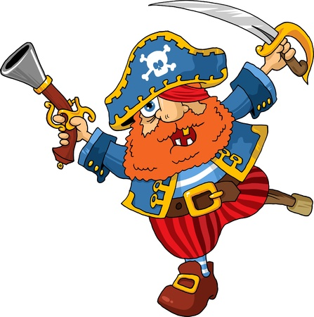 old pirate captain with a shout rushed to board;  Vector