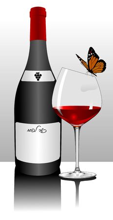 winetasting: bottle of red wine, wine glass and the Butterfly Illustration