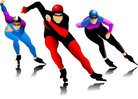 three skater at the finish line (vector illustration);  Illustration