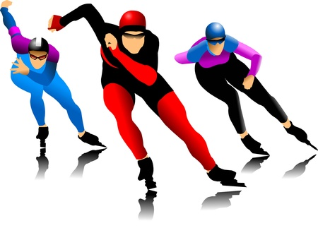 three skater at the finish line (vector illustration);  Vector