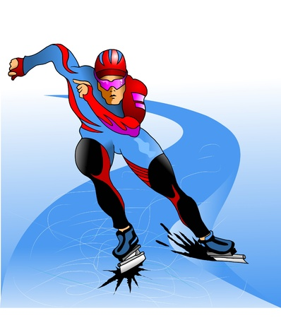 athlete in a beautiful form in the dead cold track (vector);  Vector