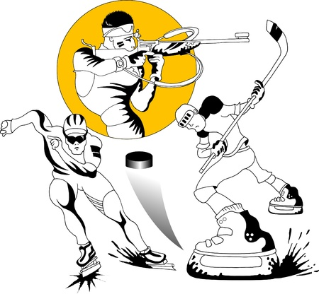 game gun: collection of winter sports. The vector-illustration;