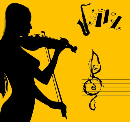 illustrated woman playing the violin (vector-illustration); Vector