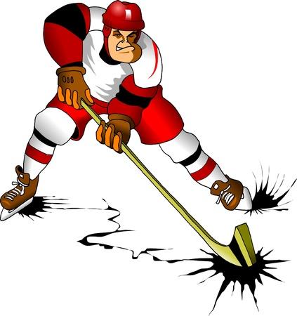 hockey sobre hielo: Hockey jugador hace un fuerte disparo a su rival meta; Vectores