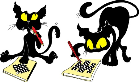 Black Cat solves difficult crosswords (vector illustration);  Vector
