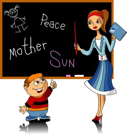 classroom teacher: Teacher listens to students at the school board (vector illustration);  Illustration