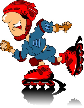 foxy: Boy riding on roller skates in the form of protective;  Illustration