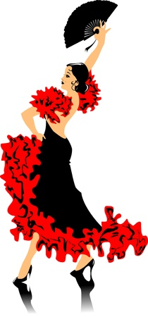 fan dance: dancer in black dress dancing flamenco (illustration);