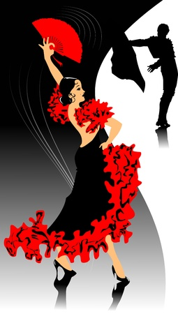 spanish bull: dancer in black dress dancing flamenco (illustration);