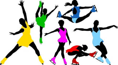 figure skater: collection of silhouettes of skaters in colorful dresses (illustration);