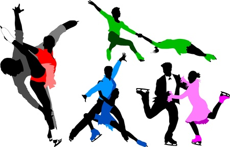 winter dance: collection of silhouettes of skaters in colorful dresses (illustration);