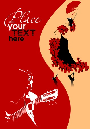 dancer in black dress dancing flamenco  illustration ;  Vector