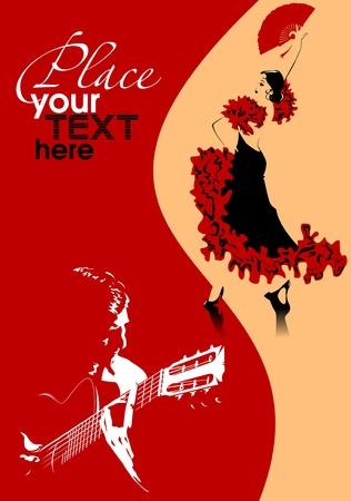 danser in zwarte jurk dansen flamenco illustratie;
