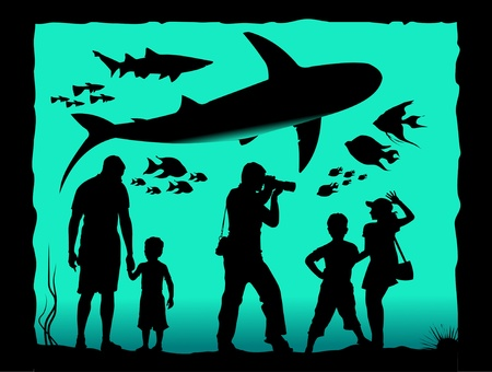 inhabitants: Aquarium visitors watching its inhabitants  illustration ;