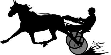 silhouet van een koets, paard en ruiter op een paard race op het circuit;