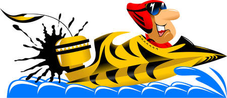 The athlete is involved in racing motor boats  illustration ;