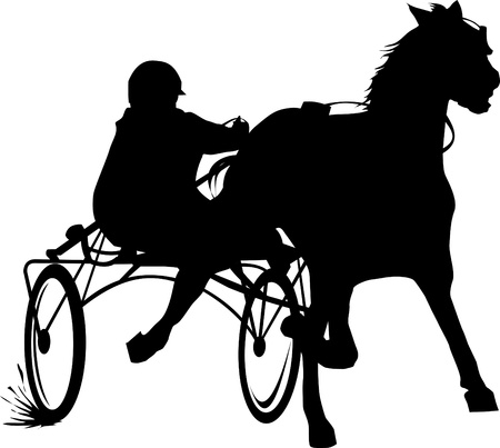 horse and carriage: silhouette of a carriage; horse and rider on a horse race at the track;