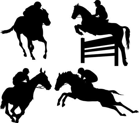 horse running: jumps; a collection of silhouettes of riders; illustration;  Illustration