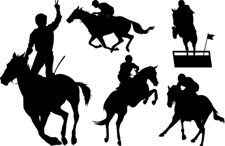 jockeys: jumps; a collection of silhouettes of riders; illustration;  Illustration