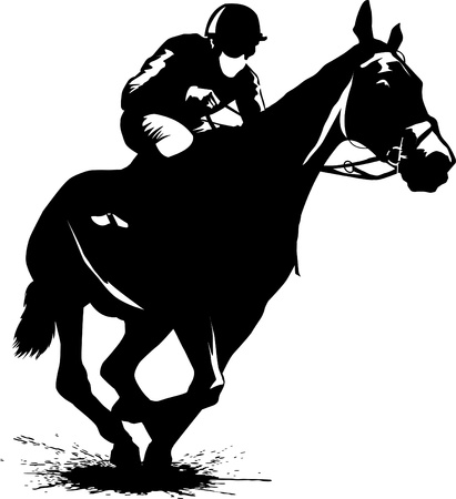 horse silhouette: jockey on a horse involved in racing at the track  illustration ;  Illustration