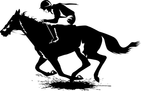 horse racing: jockey on a horse involved in racing at the track  illustration ;  Illustration