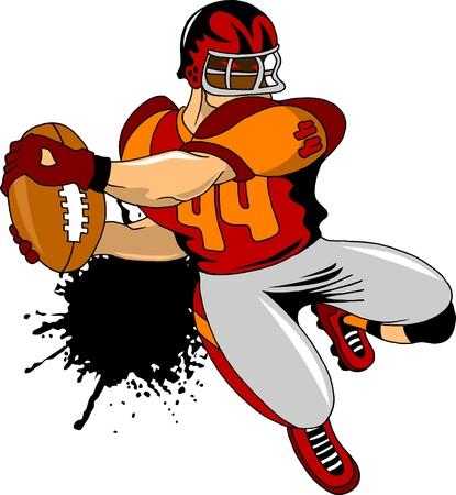 American football player preparing to throw  illustration ;  Illustration