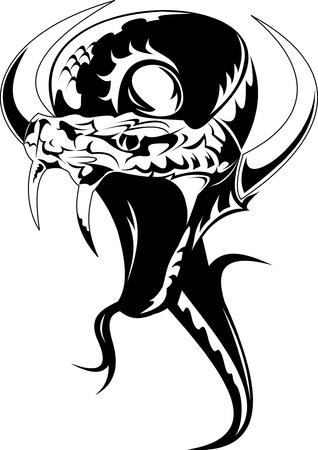 serpent noir: tatouage de serpent cornu dans l'illustration version vectorielle en noir et blanc;