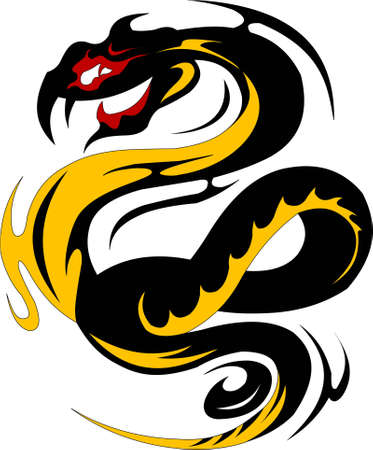 black dragon with yellow stripes coiled ring  vector illustration ;  Illustration