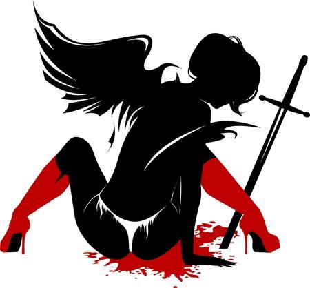 engel tattoo: verwundete Engel sitzt neben den gefalteten Flügeln eines Schwertes Darstellung;