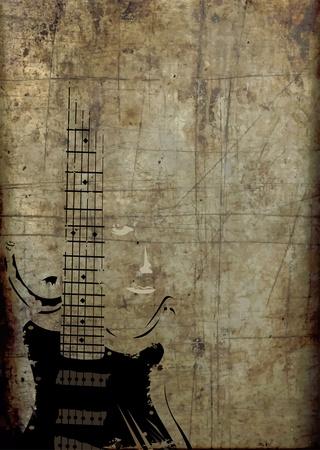 gitara: Bilet na festiwal rock, klub młodzieżowy na rysunku wieczornego Ilustracja