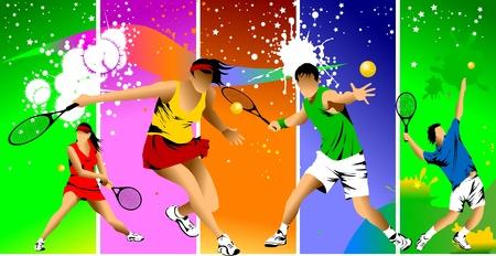 tennis: joueur de tennis en couleur sur un fond vert de raquette frappe la balle; Illustration