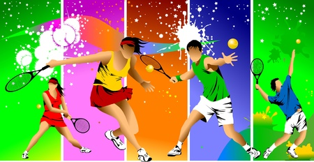tennis player in color on a green background racket strikes the ball;  Vector