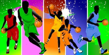 dunk: player in basketball at the background of basketball rings  vector ;  Illustration