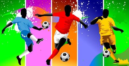 portero futbol: F�tbol elemento de dise�o, el fondo verde de ilustraci�n vectorial; Vectores