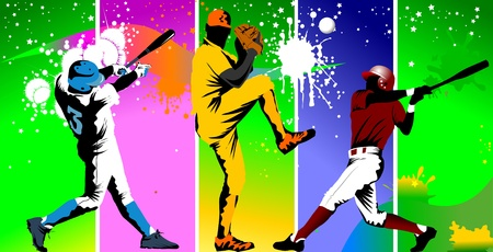 baseball game: Baseball player catches the ball in the trap  vector illustration ; Illustration