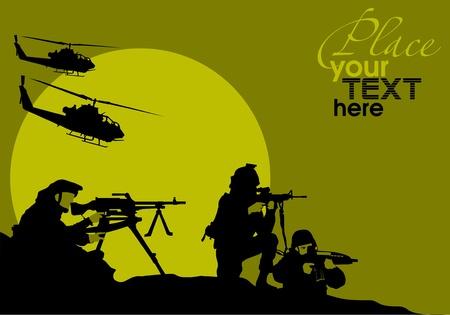 idzie: żołnierz idzie na rekonesans w nocy na pustyni; Ilustracja