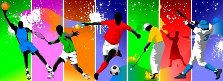 sports shoe: Colored background with the image of athletes engaged in different sports; Illustration