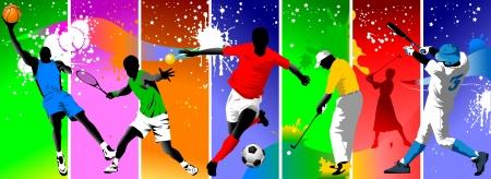 balon baloncesto: Fondo de color con la imagen de los atletas que participan en diferentes deportes;