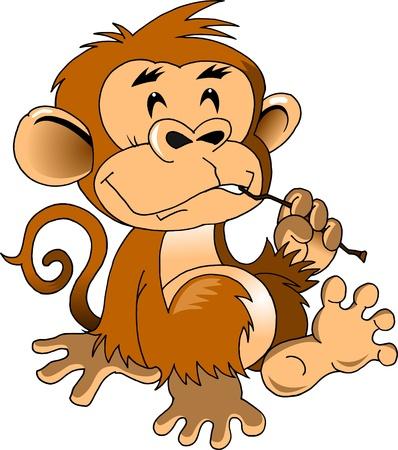 orangutang: funny monkey cleans teeth stick