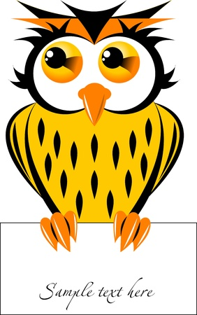 Beautiful owl holding in its talons a piece of paper   Vector